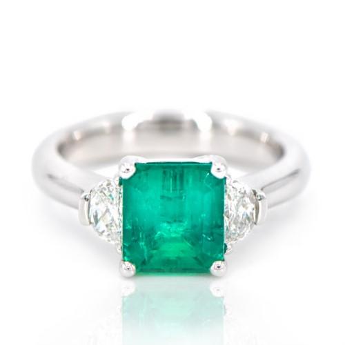Columbian Emerald Half Moon Diamond Platinum Ring Champaign Jewelers Champaign Il