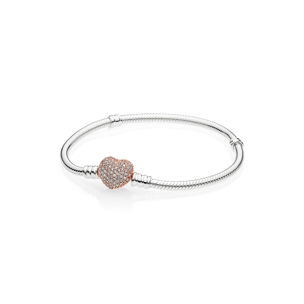 Pandora Moments Pavé Heart Clasp Snake Chain Bracelet in Two-Tone Size 7.1