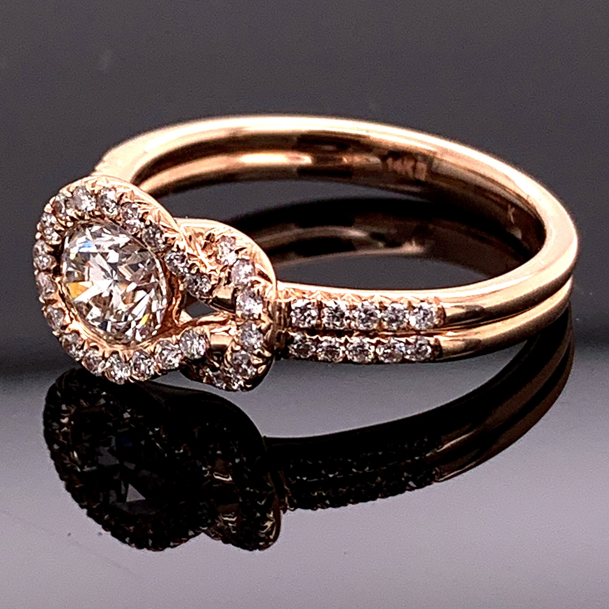 Rose Gold Diamond Everlon Knot Ring Gerald S Jewelry Oak Harbor Wa