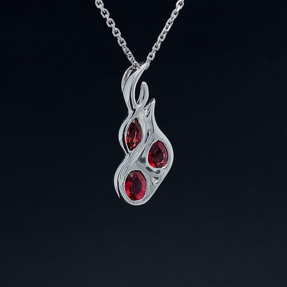 Oak Island Gems Raw Ruby Silver Pendant Necklace