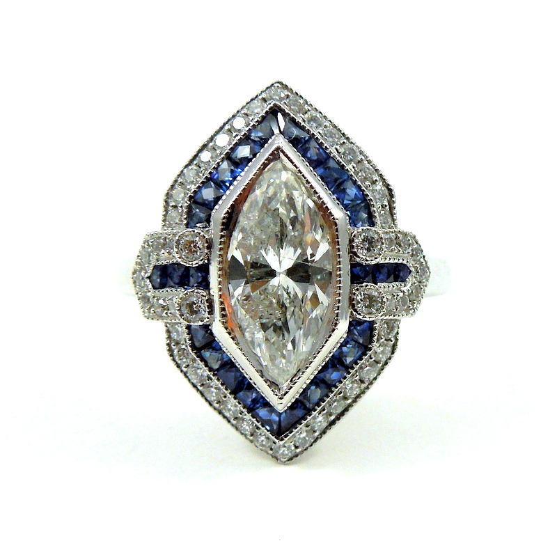 Marquise Diamond And Sapphire Engagement Ring 001 100 01121 Joint Venture Jewelry Cary Nc