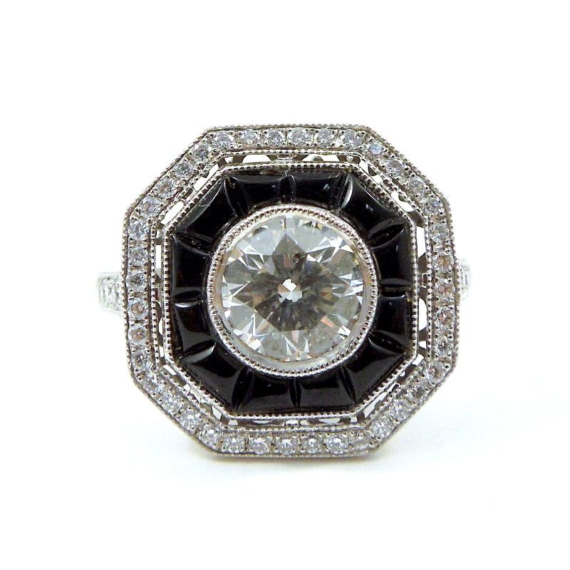 Diamond and Black Onyx Engagement Ring
