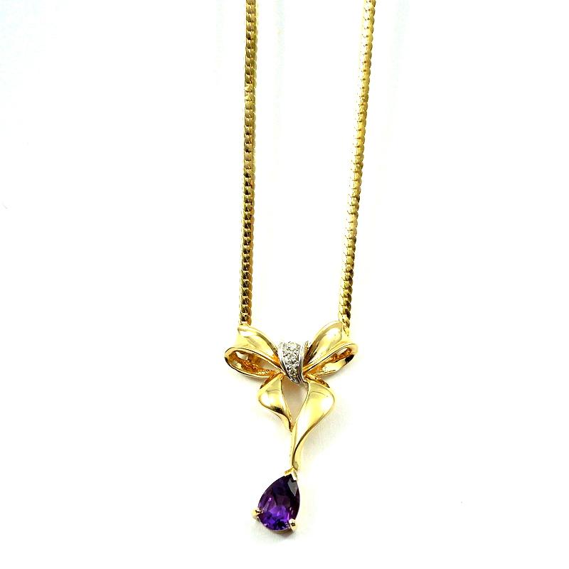 Amethyst Wing Necklace     NCK-0182
