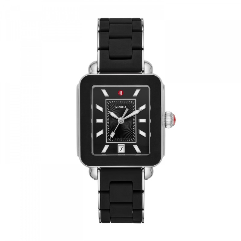 Michele Deco Sport Black Wrapped Silicone & Stainless Steel | Koser  Jewelers | Mount Joy, PA