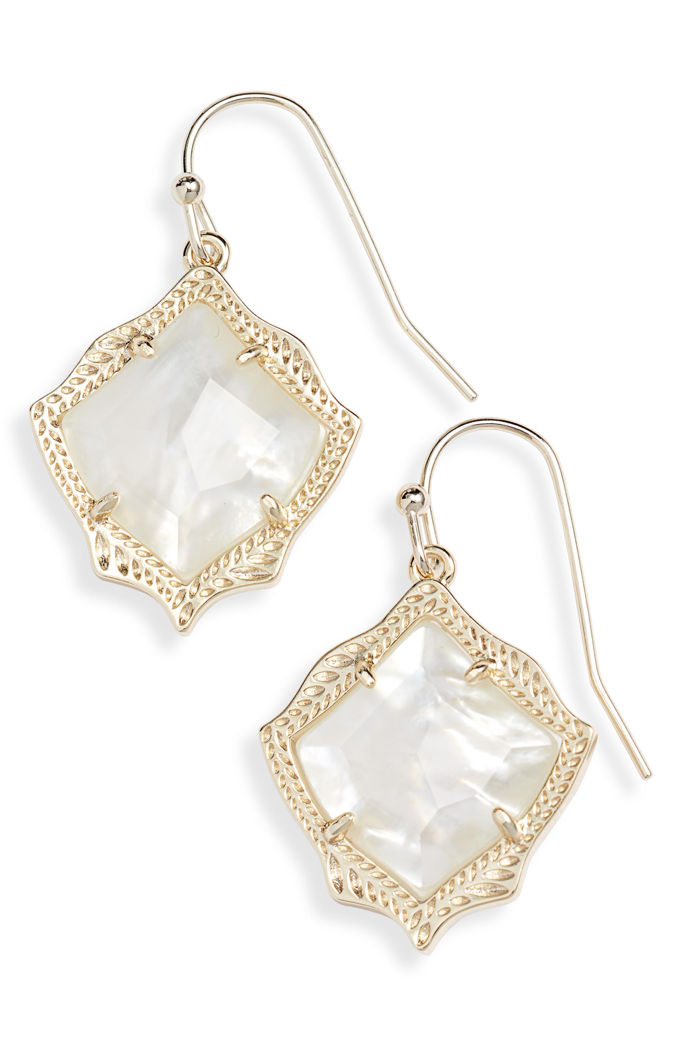 New Kendra Scott Kyrie Gold Drop Earrings In Ivory Pearl