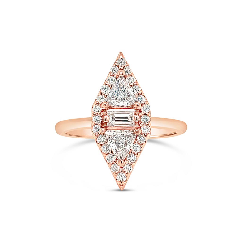 14k Rose Gold Diamond And London Blue Topaz Gemstone Engagement Ring Texas Gold Connection Greenville Tx