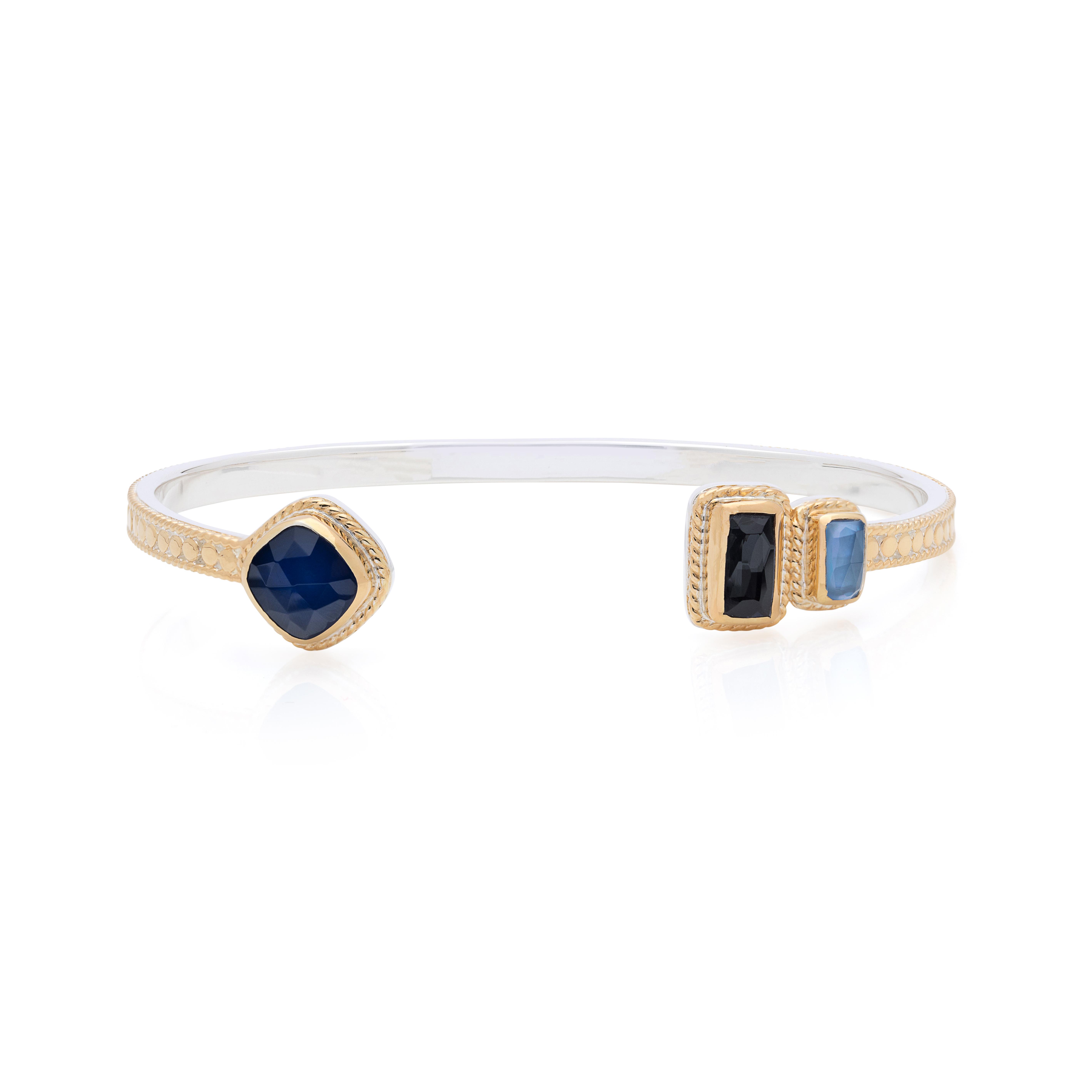 Open Cuff Blue Green Sapphire Ring