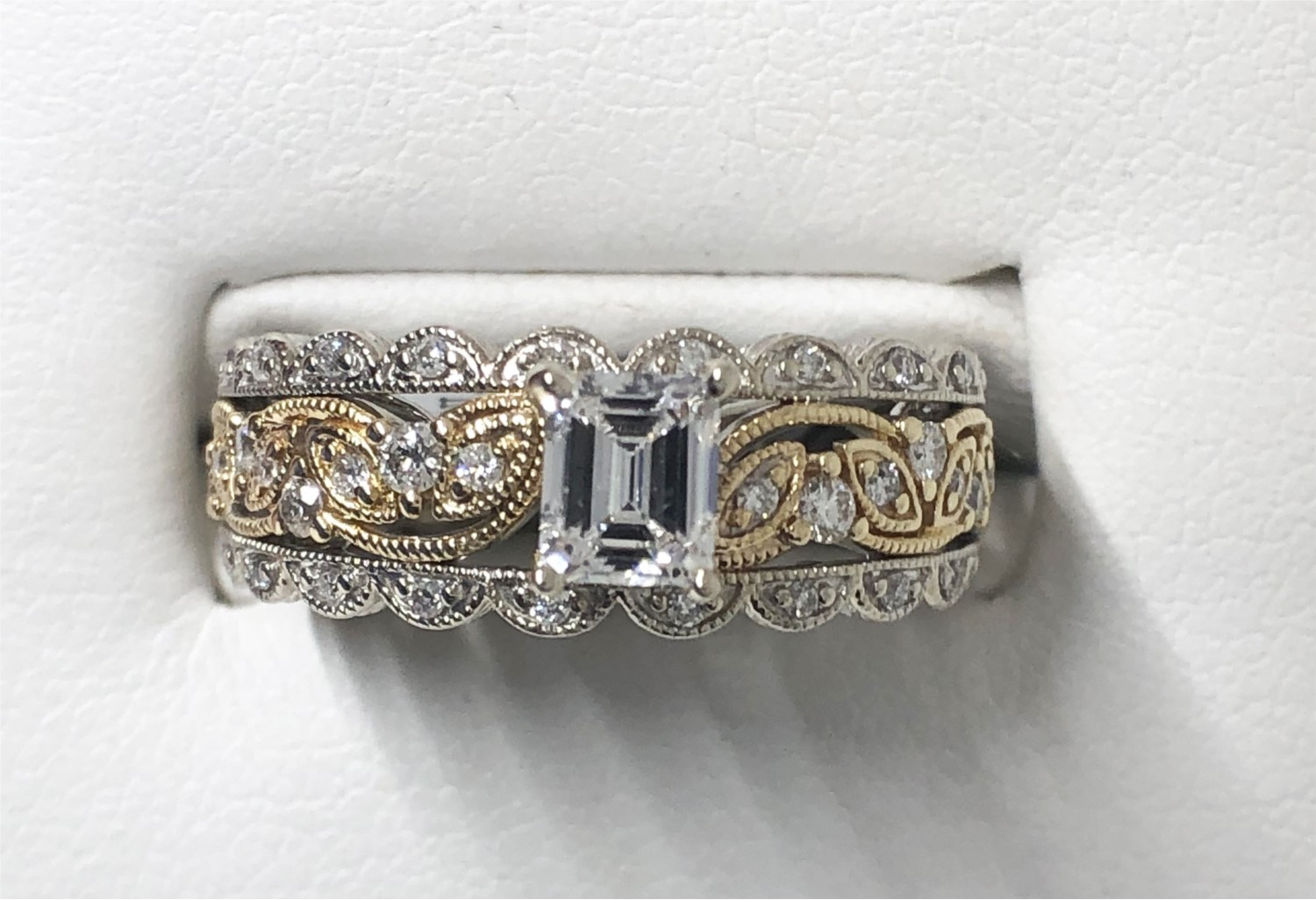 14k White And Yellow Gold Diamond Emerald Cut Engagement Ring Your Jewelry Box Altoona Pa